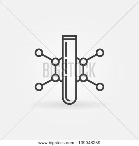 Test-tube linear icon. Vector thin line chemistry symbol or pictogram