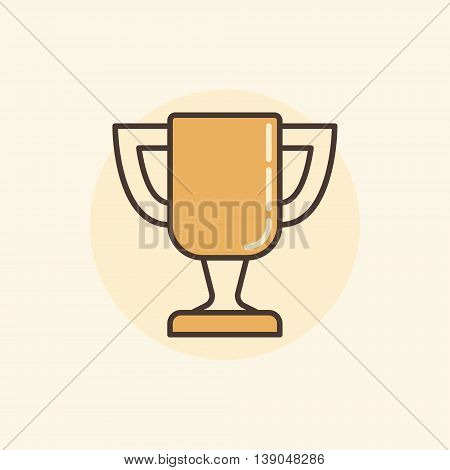 Trophy cup colorful icon. Vector flat goblet symbol or sign on yellow background