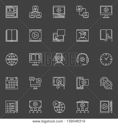 Webinar linear icons set. Vector outline concept e-learning signs. Minimal online learning and webinar symbols on dark background
