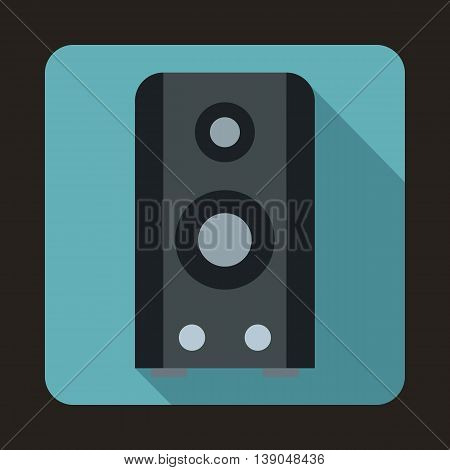 Black sound speaker icon in flat style on a baby blue background