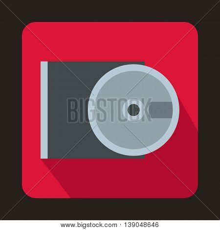 DVD drive open icon in flat style on a pink background
