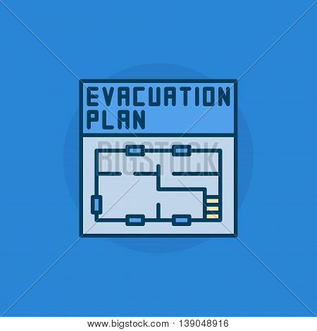 Evacuation plan flat icon - vector colorful symbol or pictogram. Simple blue evacuation plan sign
