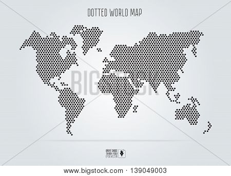 Dotted abstract world map. Vector illustration. Black round dots