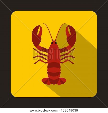 Crayfish icon in flat style on a yellow background