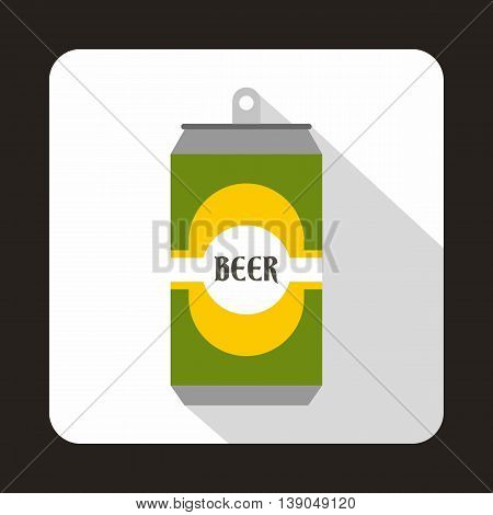 Green aluminum can icon in flat style on a white background