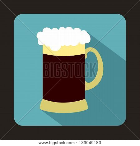 Mug of dark beer icon in flat style on a baby blue background