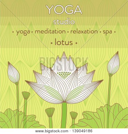 decorative lotus flower bud background for yoga studio design