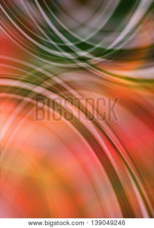 Abstract red orangebackground with intersecting green and white oval stripes