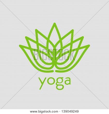 stylized lotus flower emblem icon for yoga design