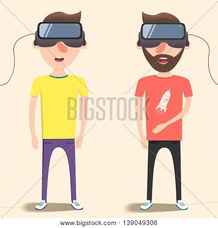 A guys with isometric virtual reality headset. A Contemporary style with pastel palette, soft background. Vector flat design illustration.