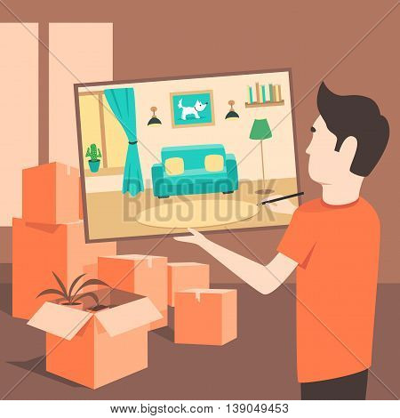 The artist draws an apartment before the move. Flat illustration. Relocation service. Box for moving. Transportation package cargo service