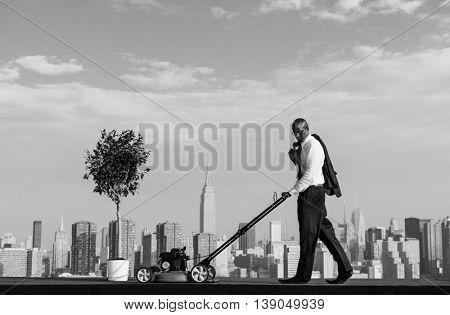 Businessman Entrepreneur Office Worker Plant Bud Concept