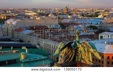 panorama view of St. Petersburg from the roof of St. Isaac's Cathedral ,Russia