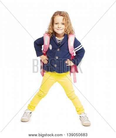 Little girl with schoolbag. Happy child on white