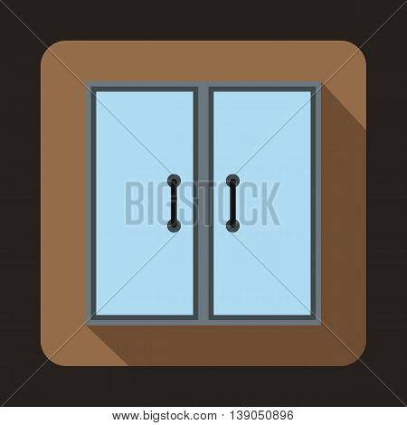 Two glass doors icon in flat style on a coffee background