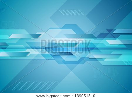 Blue shiny hi-tech motion layout background. Vector geometric tech design