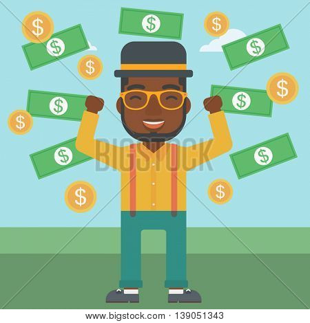An african-american young businessman with raised hands standing under money rain. Successful business concept. Vector flat design illustration. Square layout.