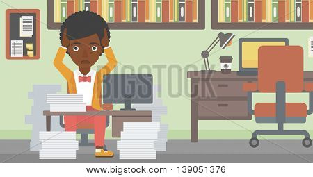 An african-american business woman in despair sitting at workplace with heaps of papers and clutching her head. Vector flat design illustration. Horizontal layout.