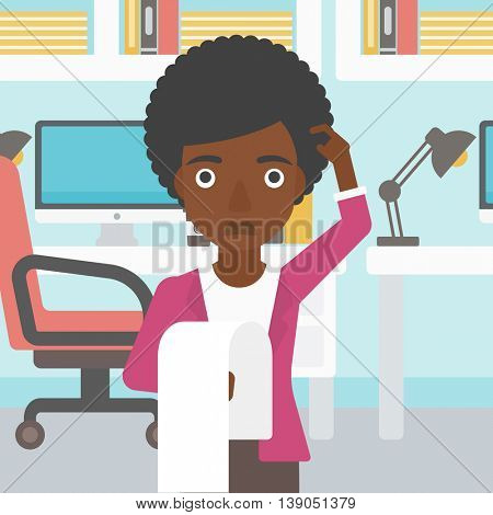 An african-american business woman standing in the office and holding a long bill. Concept of business bankruptcy. Vector flat design illustration. Square layout.