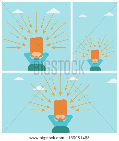 Rear view of a sitting man with some arrows poinded to his head. Vector flat design illustration. Square, horizontal, vertical layouts.