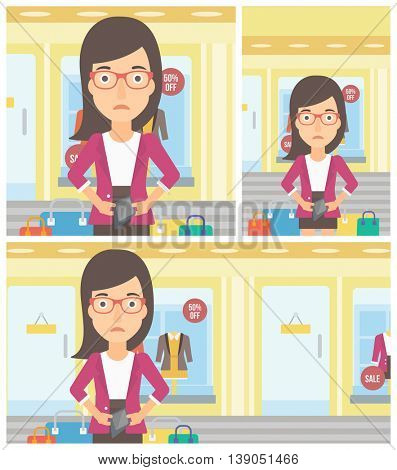 Young woman showing her epmty wallet on the background of showcase of a store. Vector flat design illustration. Square, horizontal, vertical layouts.