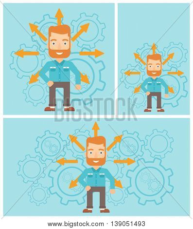 A hipster man with the beard with many arrows around his head standing on background with cogwheels. Concept of career choices. Vector flat design illustration. Square, horizontal, vertical layouts.