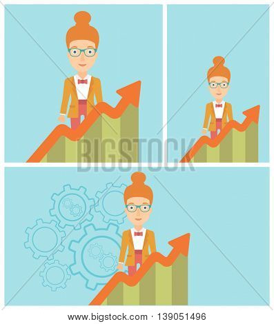 Young business woman standing behind growing chart. Successful business concept. Vector flat design illustration. Square, horizontal, vertical layouts.