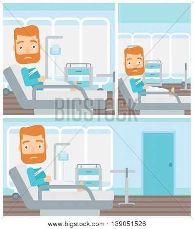 Young hipster man with neck brace lying in bed in hospital ward and suffering from pain. Vector flat design Illustration. Square, horizontal, vertical layouts.