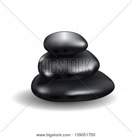 Stack of black spa stones. Three polished rocks arrangement with transparent shadows. Design elements useful for any color background. Vector illustration.