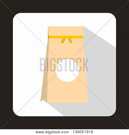 Tea packed in a paper bag icon in flat style on a white background