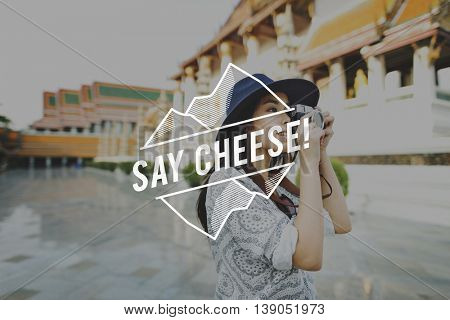Say Cheese Smile Enjoyment Fun Happy Happiness Concept