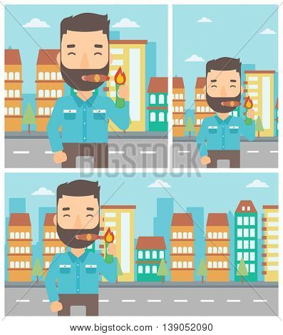 Rich businessman lighting a cigar with dollar bill. A successful businessman smoking a cigar on the background of modern city. Vector flat design illustration. Square, horizontal, vertical layouts.