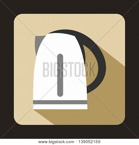 Electric kettle icon in flat style on a beige background