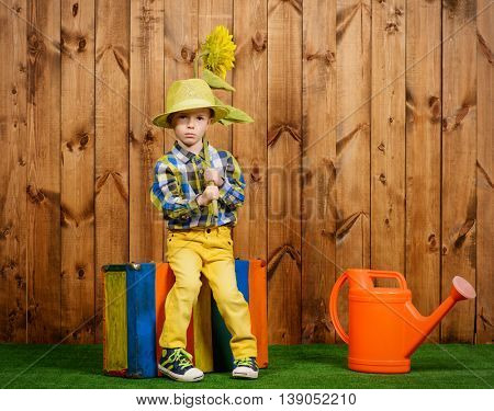 Funny little boy in colorful clothes sitting with a sunflower on a green lawn. Kid's fashion. Summer holidays.