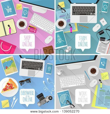 Vector flat design template set for for different online activities -- working, shopping, travel, learning, Top view desktop background collection for application, interface web design, presentation.