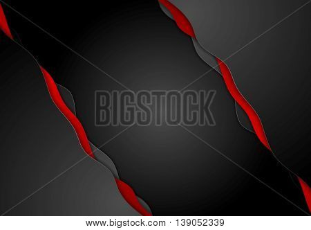 Abstract contrast red black wavy corporate background. Vector graphic brochure design