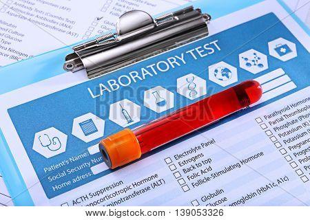 Blood sample on medical report
