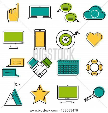 Sixteen vector colored thin line computer icons. Use for web design. Gadgets, hands, target and online storage cloud isolated on white