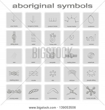 set of monochrome icons with symbols of Australian aboriginal art for your design