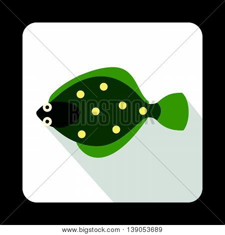 Flounder fish icon in flat style on a white background