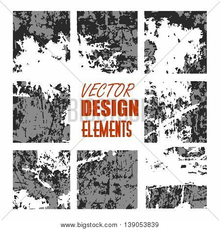 vector grunge textures, backgrounds and brushes. Artistic collection of design elements. Isolated vector.