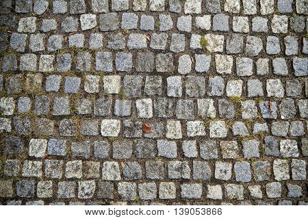 Old Gray Cobbled Stones Road Texture background