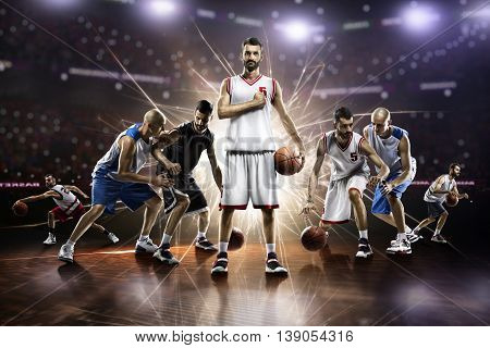 collage from basketball players in action on the grand arena
