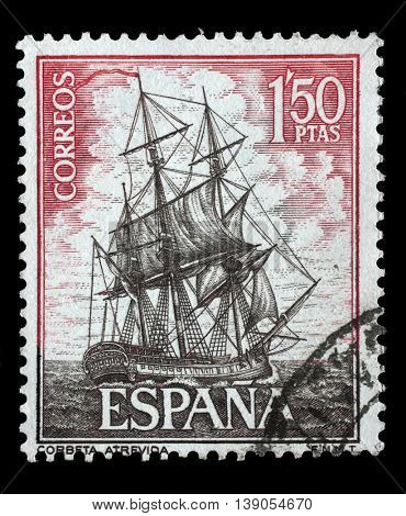 ZAGREB, CROATIA - JUNE 25: A stamp printed in Spain from the