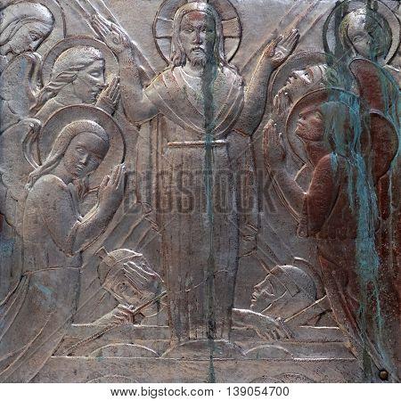 ZAGREB, CROATIA - JANUARY 31: Resurrection of Jesus, altar of the Sacred Heart of Jesus in the church of Saint Blaise in Zagreb, Croatia on January 31, 2015