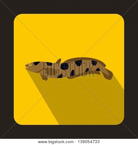 Anarhichas fish icon in flat style on a yellow background