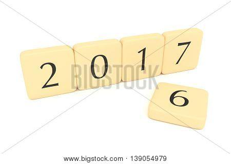 Letter blocks: Turn of the year 2017 3d illustration