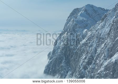 Mount the Dachstein region above a blanket of fog - austria