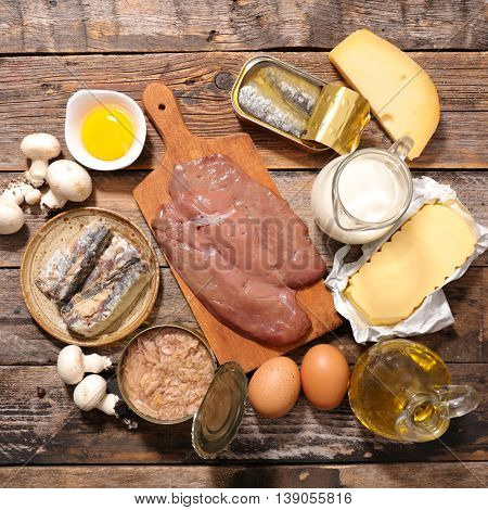 collection of food with vitamin d
