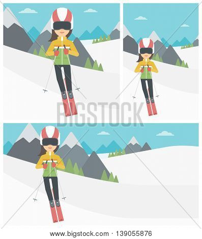 Young woman skiing on the background of snow capped mountain. Skier skiing downhill in mountains. Female skier on downhill slope. Vector flat design illustration. Square, horizontal, vertical layouts.